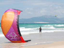 redecollage du kite, à Los Lances Tarifa village
